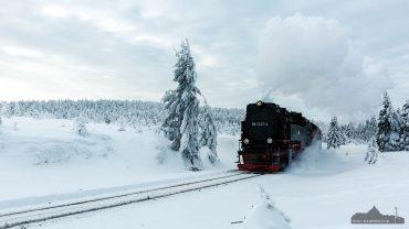 Winter auf dem Brocken im Harz - die Brockenbahn