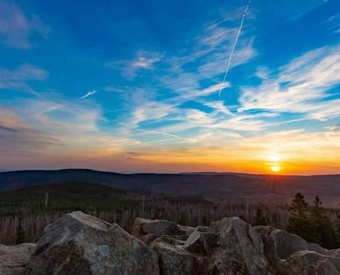 Sonnenuntergang auf dem Achtermann im Harz